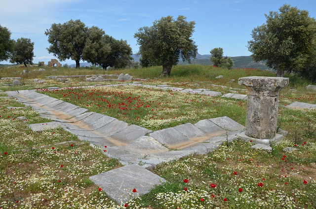 The ruins of the Asklepieion at Troezen, peristyle court of the abaton or koimeterion? (dormitory), Argolid, Greece
