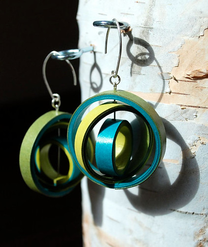 circle paper earrings in green and aqua