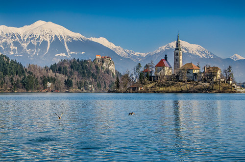 blue winter sky lake snow mountains alps tower castle church water island nikon europe slovenia alpine bled slovenija grad otok julianalps blejski jezero lakescape republikaslovenija blejsko d5100
