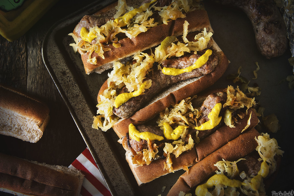 Spicy Mustard Brats with Sauerkraut #GetGrilling \\ GirlCarnivore.com