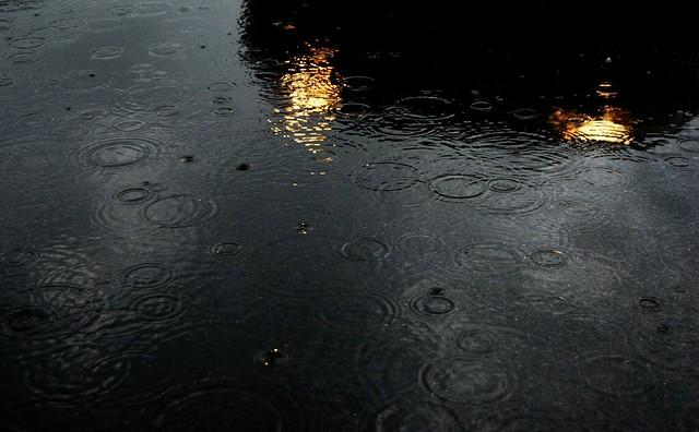 Headlights in rain