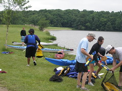 Packing the kayaks with gear