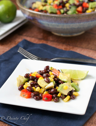Black Bean Salad with Corn, Red Pepper, & Avocado