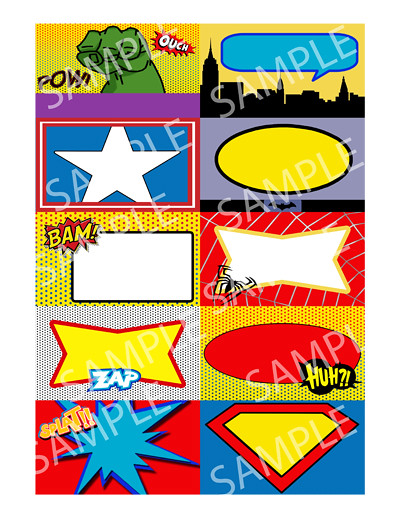 Superhero Birthday Party Place Cards Business Card Size