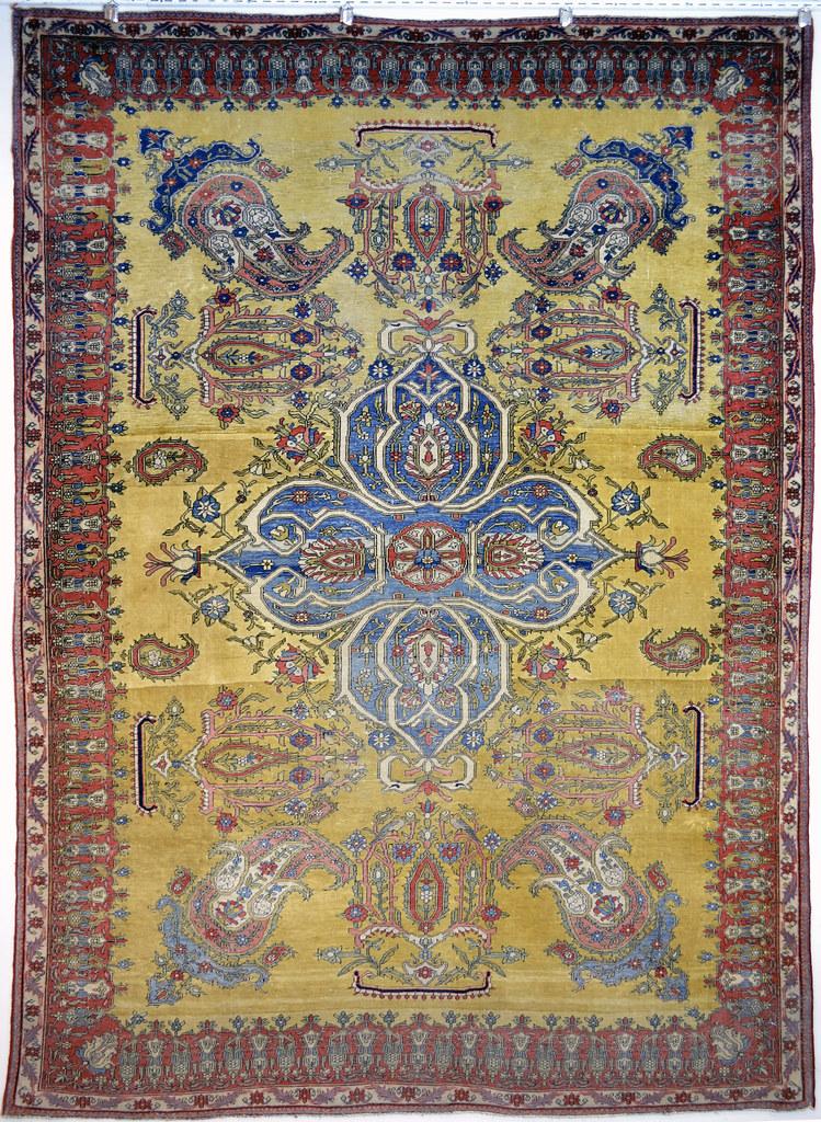 Antique Mohtasham Kashan Paisley Design 4x6 Persian Rug