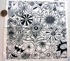 Black & White Flower Doodle, 8x8 test swatch