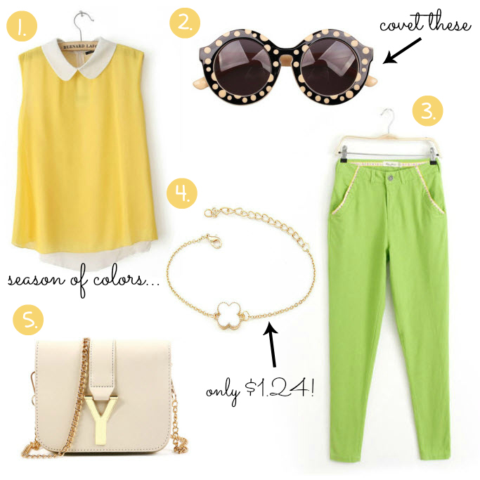 Cheap Friday- Ebay bargains #25.  Maddie's guide on Ebay clothing, shoes and accessories. This weeks Ebay bargains include items like bright green pants, a cream color bag with a letter y as a buckle, a clover bracelet, a bright yellow peter pan collar sleeveless blouse, sunglasses with dots audrey hepburn inspired