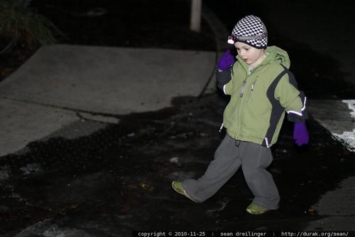 breaking black ice with his heel