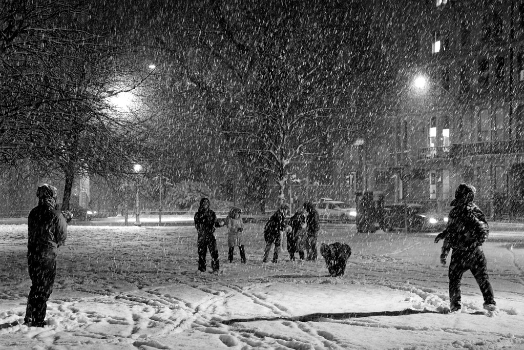 Snowball fight in Victoria Gardens, Brighton