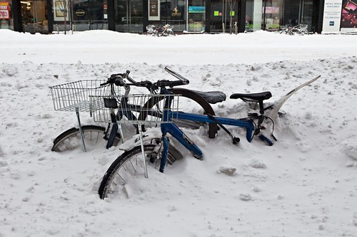 Bicycles stuck in the aftermath of a snowstorm