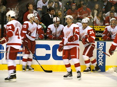 Detroit Red Wings bench