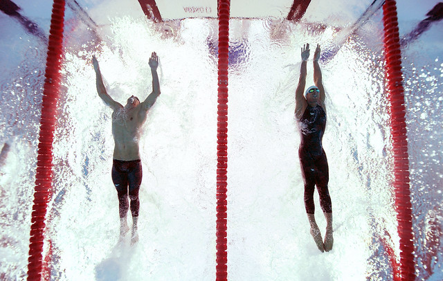 Phelps and Cavic approaching the finish, Beijing Olympics, by Adam Pretty