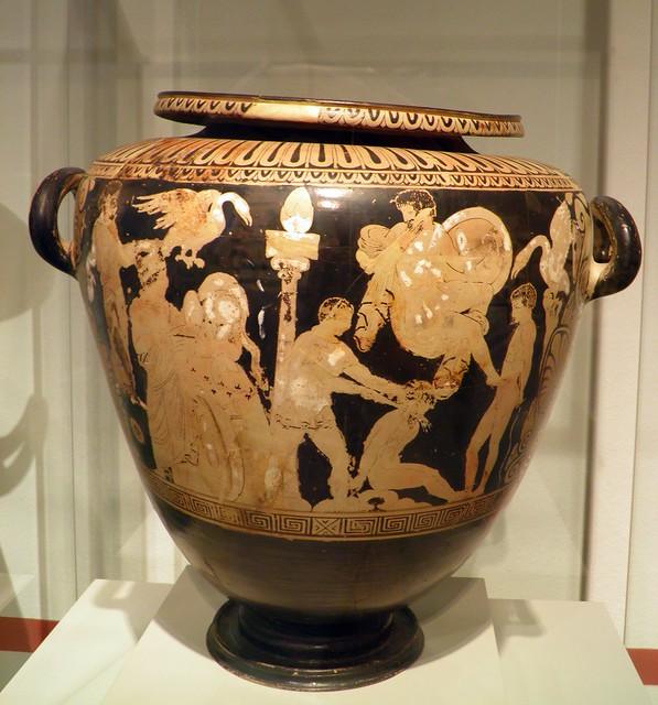 Faliscan Red-Figure Stamnos: Sacrificing of Captured Trojans, Italia Antiqua: Etruscans and Romans (Altes Museum, Berlin)