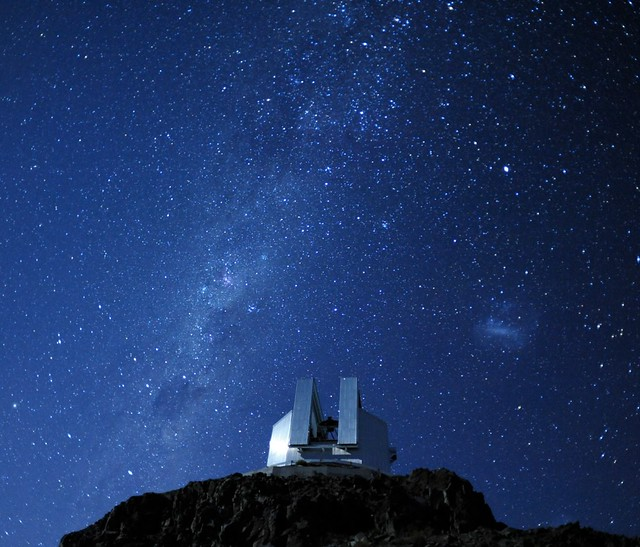The Milky Way and Large Magellanic Cloud above the NTT