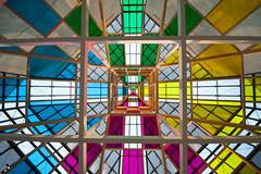 DANIEL BUREN 'ARCHITECTURE, CONTRE-ARCHITECTURE : TRANSPOSITION' . TRAVAIL IN SITU
