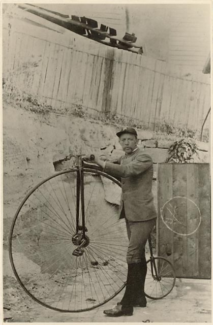 Alfred Lee and penny farthing, Glen Street, North Sydney, undated / photographer unknown