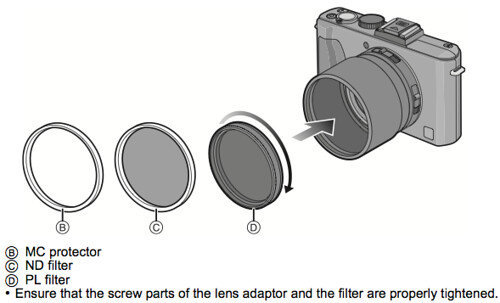 Using protectors / filters, as referenced on page 203 of the Panasonic LX5 Manual (Advanced Operating Instructions)