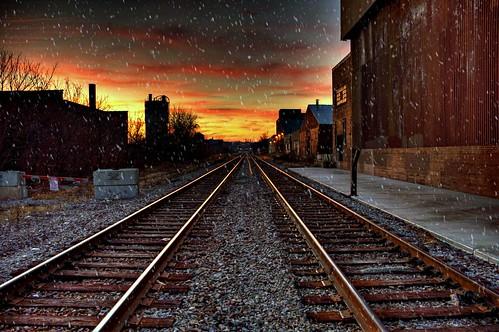 railroad sunset snow skyline wisconsin nikon milwaukee hdr d90