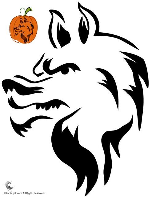 Wolf pumpkin carving stencils