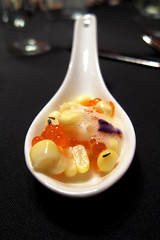 ARASK, Course 1: Pickled Sweet Corn, Trout Roe, An…