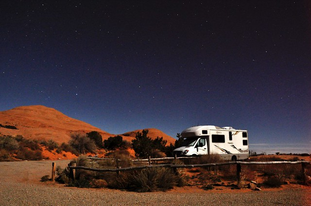 Navion Motorhome, long nighttime exposure with a bright moon, Arches National Park, November 22, 2010