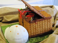 Fishing Basket Groom's Cake with Baseball Cap Cake