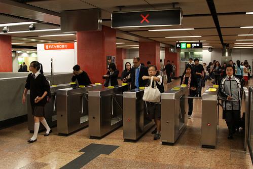 Passing through the turnstiles at Mong Kok