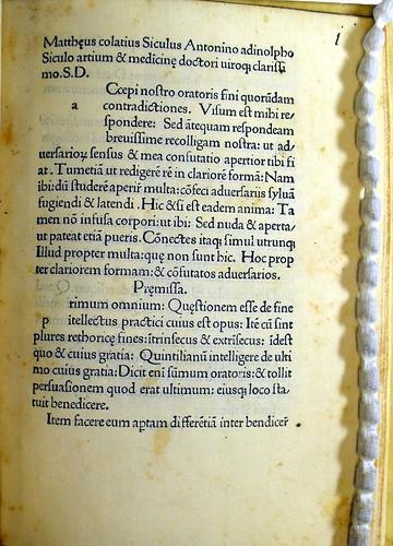Beginning of Colatius, Matthaeus: Responsio de fine oratoris