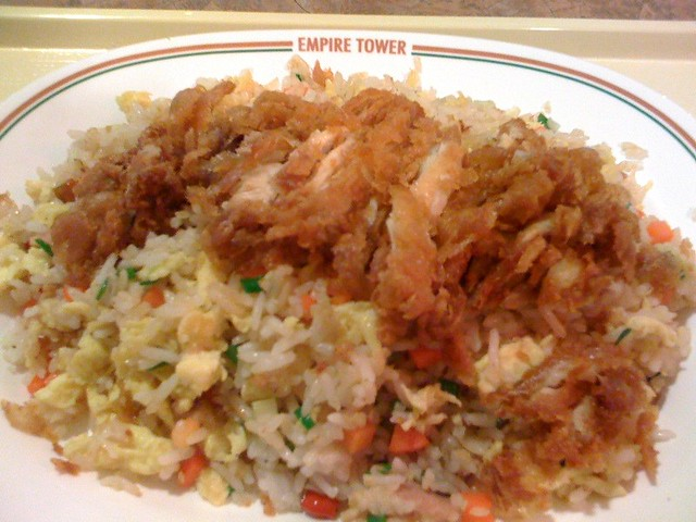 deep fried chicken with thai fried rice @ Empire Tower Food Court ...