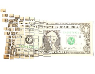 Torn & Cut One Dollar Note Floating Away in Small $ Pieces