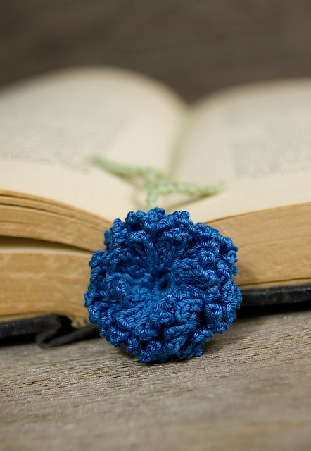 Crochet Zinnia Flower Pattern : Crocheted zinnia Bookmark Flickr - Photo Sharing!