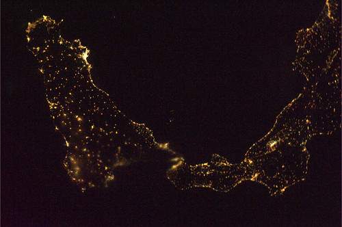 Calabria and Sicily at night