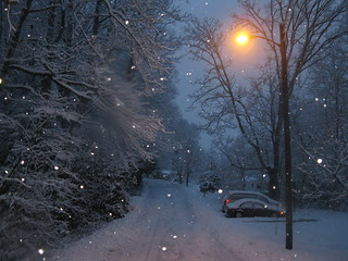 walking home in the snowy twilight ...