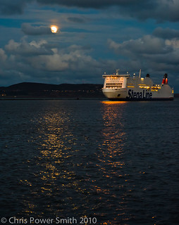 Full Moon over Howth Head as Stena Passes By