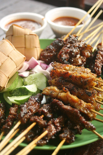 Beef, Chicken and Mutton Satay with Ketupat