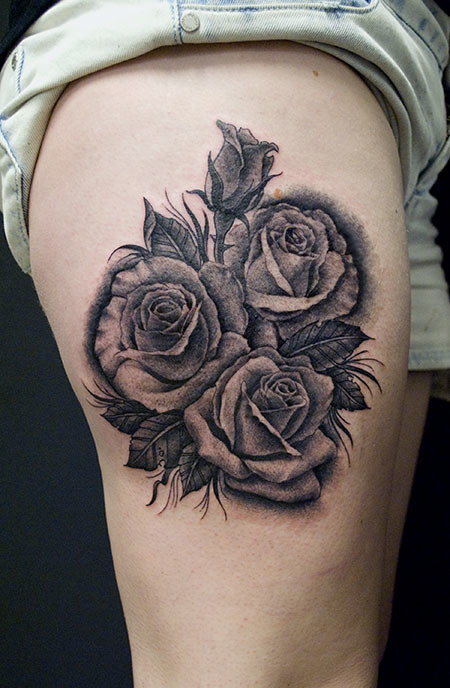 Rose Tattoo Black And Grey A Cluster Of Roses A Parting Flickr
