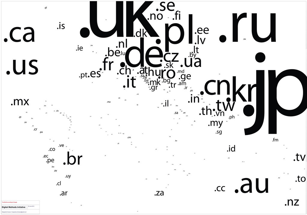 Tag cloud map of the internet country code top level domains according to Google