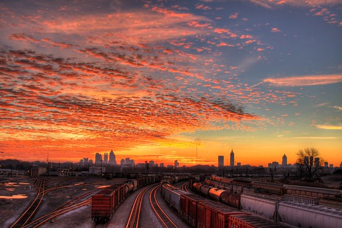 road morning bridge blue atlanta orange colors yellow skyline clouds yard america train sunrise canon ga georgia aj downtown cityscape cloudy tracks midtown marietta hdr freight rd brustein 50d dwcffcolorful