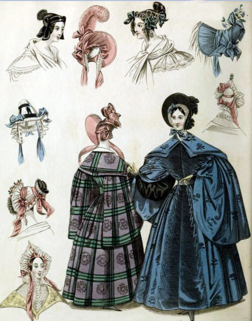 Georgian Fashion of 1836: Plate No 4 - Outerwear & Bonnets