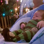 Dec. 26th - Christian by the tree watching the Hawks play Columbus.