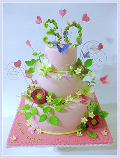 Butterfly, Ranunculus and Dogwood Cake