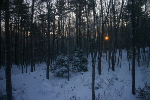 snow home window sunrise bedroom woods ouryard merrimack