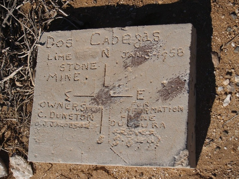 Cement marker for the Dos Cabezas Limestone Mine, circa 1958