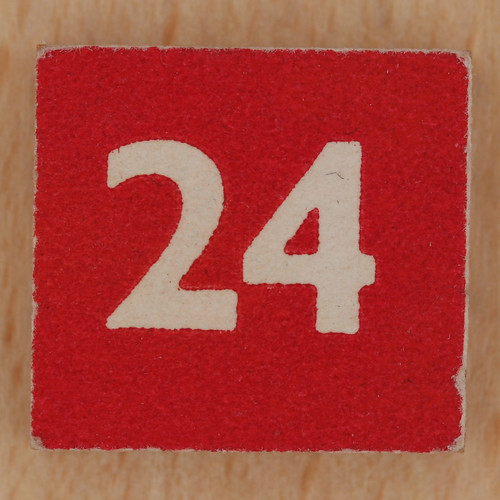 Square Wooden Bingo Number 24