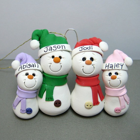 Polymer Clay Christmas Ornament: Snowman Family Polymer Clay Ornament