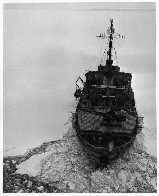 Icebreaker with Equipment in Antarctica