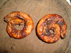 sausage(0.0), produce(0.0), bratwurst(0.0), pretzel(0.0), baked goods(1.0), meat(1.0), boerewors(1.0), food(1.0), dish(1.0), cuisine(1.0), snack food(1.0), kielbasa(1.0),