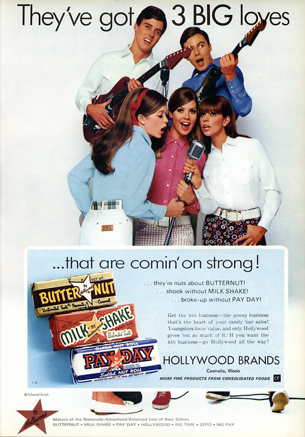 Hollywood Candy Co - Butternut, Milkshake, Payday - 3 Big Loves - candy trade magazine ad - National Candy Wholesaler Magazine - May 1969