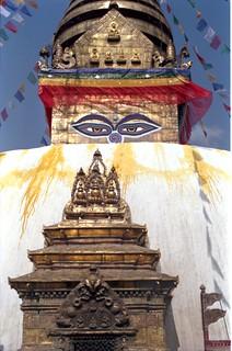 1993, Swayambu Stupa, with Five Dhyani Buddhas, eyes of the Buddha, number 1, decorations, prayer flags, saffron water wash, Kathmandu, Nepal