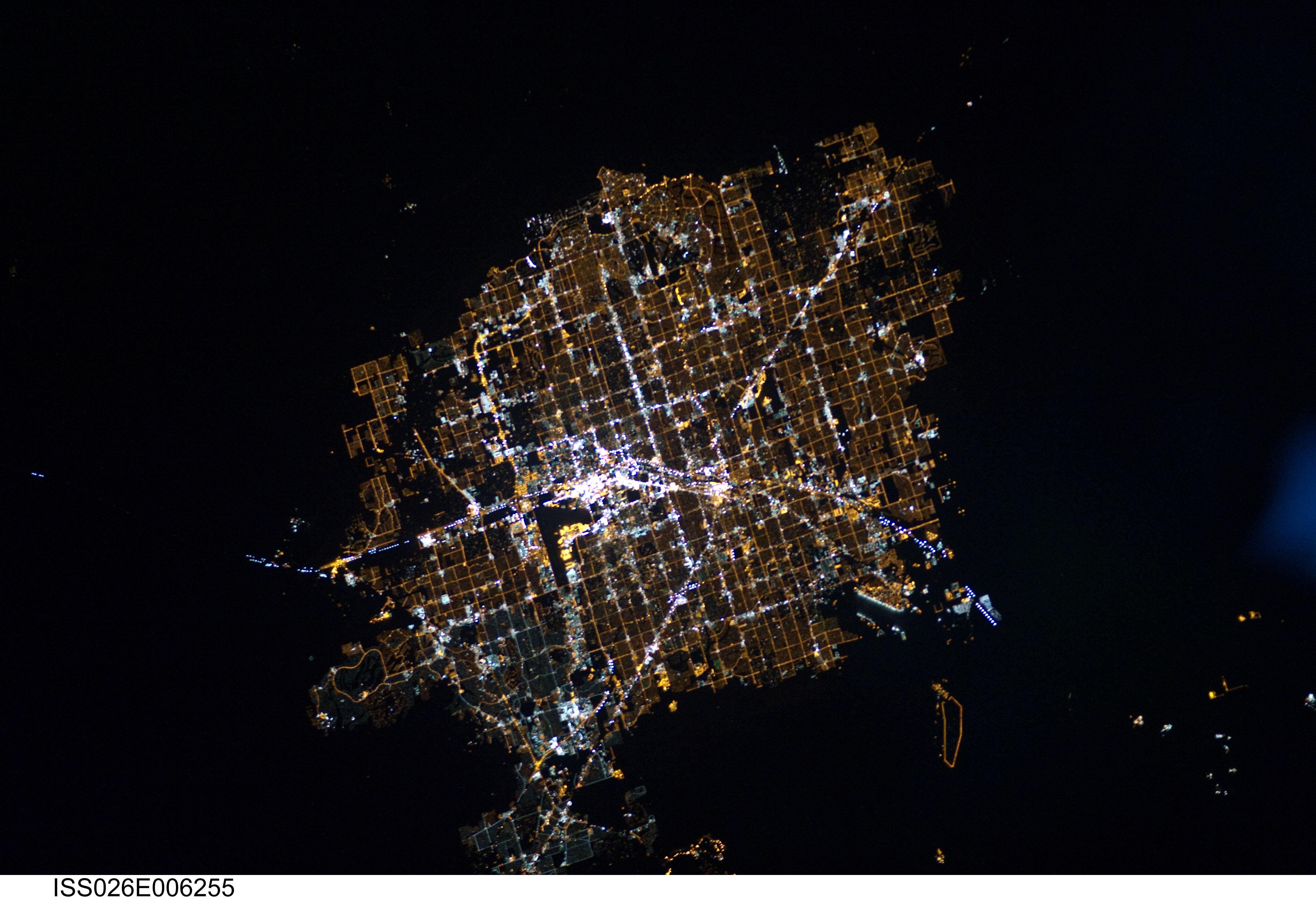 Las vegas nevada at night nasa international space for Space station usa